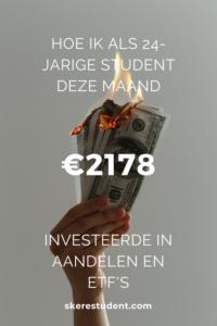 Ben jij ook altijd zo nieuwsgierig naar andermans portemonnee? Op SkereStudent.com geef ik je een kijkje in mijn kasboekje, en vertel ik je wat mijn inkomsten, uitgaven en investeringen waren deze maand. Spoiler alert: Ik investeerde meer dan €2100 in aandelen en ETF's deze maand!